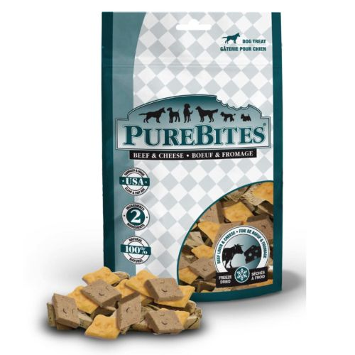Front Shot Bag With Pile Freeze Dried Beef and Cheese Dog Treats
