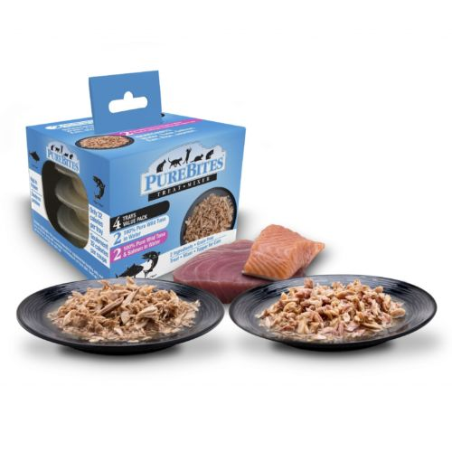 Front Shot Variety 4 Pack and Plates Cat Mixers Tuna Salmon in Water