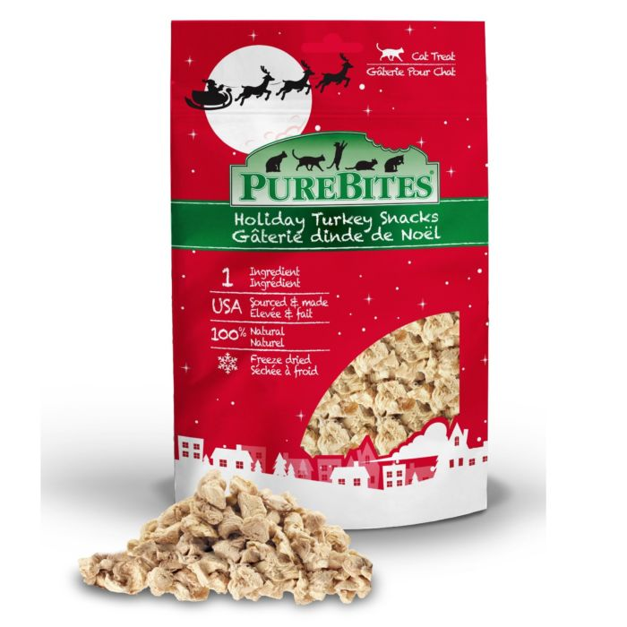 Front Shot Bag With Pile Freeze Dried Holiday Turkey Cat Treats