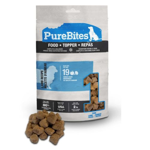 Front Shot Bag With Pile Food Topper Freeze Dried Lamb Recipe For Dogs