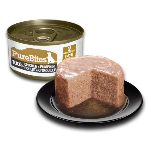 Front Shot Can With Plate Dog Paté Chicken and Pumpkin Bilingual
